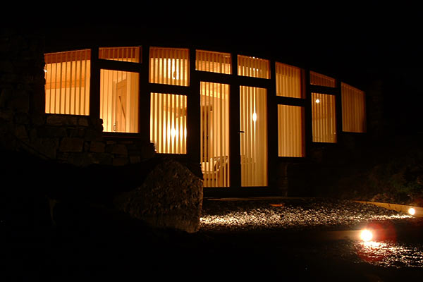 Hebridean Earth House at night